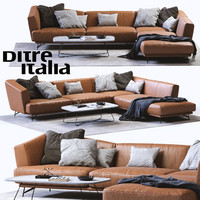 3d model ditre italia lennox leather sofa