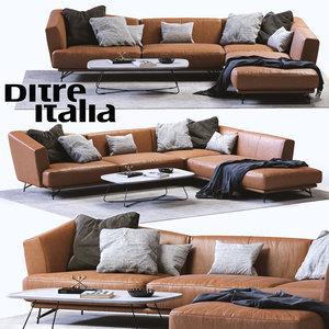 3d model ditre italia lennox leather sofa