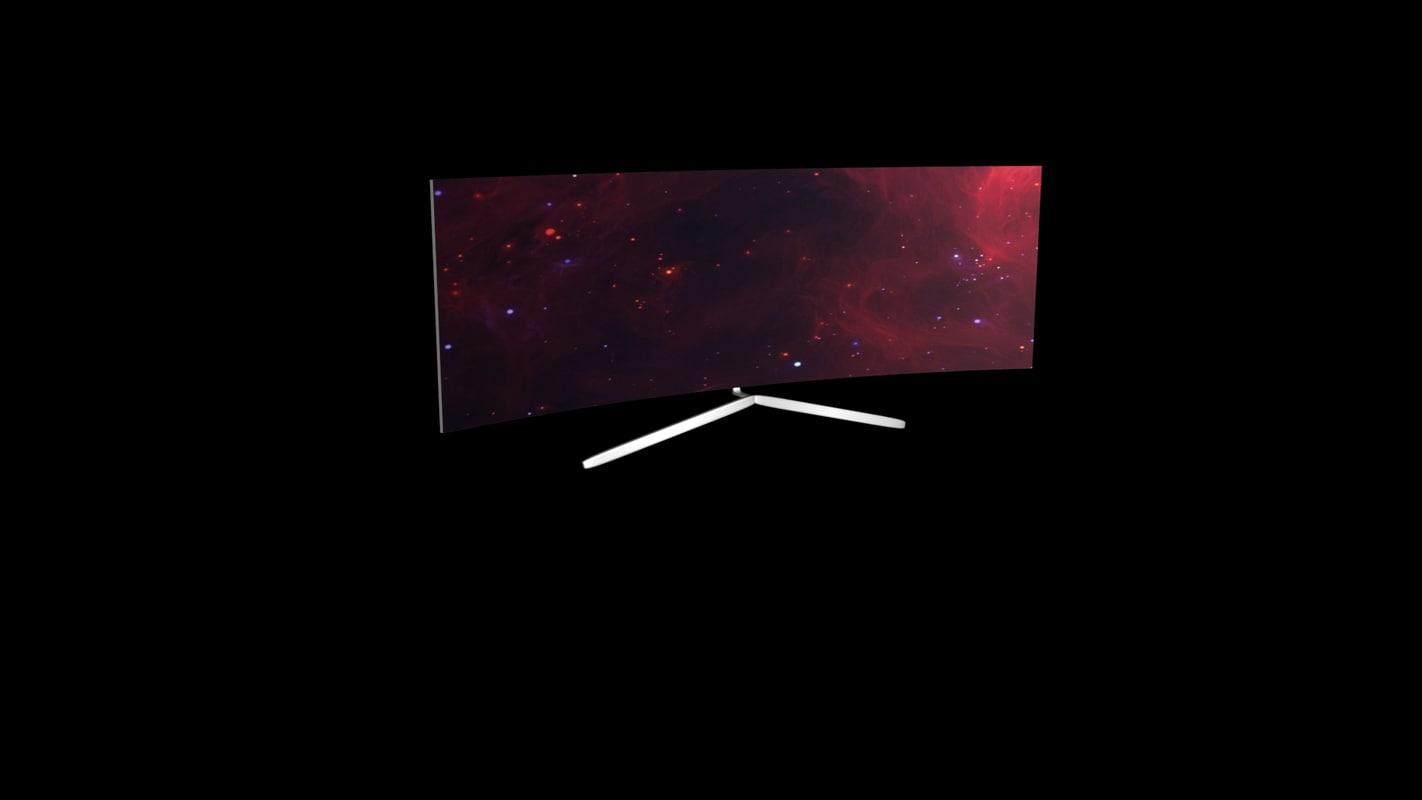 curved led tv 3d obj