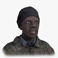 afro american homeless 3d obj