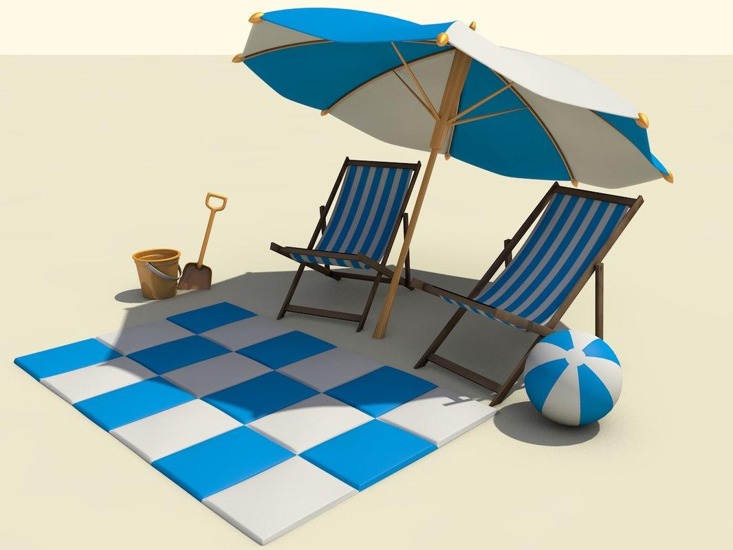 beach sets 3d 3ds