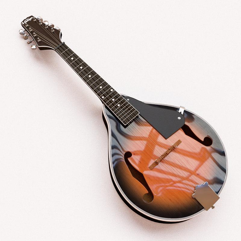 3d vintage mandolin model