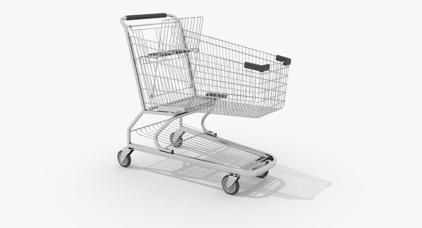 wire shopping cart 3d model
