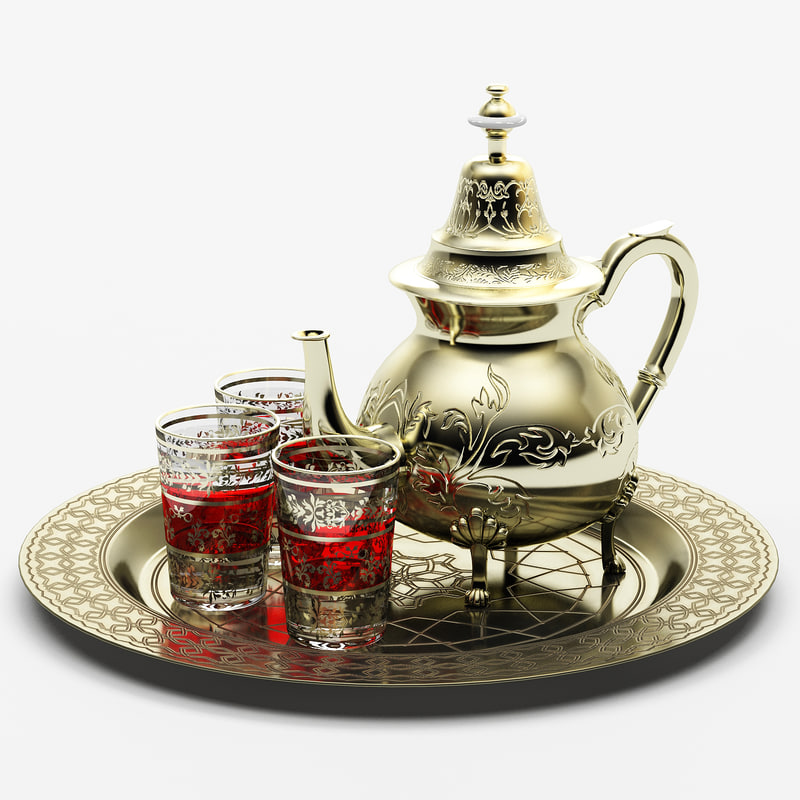 arabic teapot tea tray 3d model
