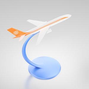3d miniature jet desktop modeled airplane