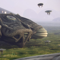 3d scene alien planet mothership