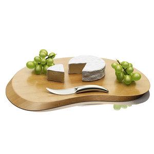 3d model cheeseboard camembert grapes