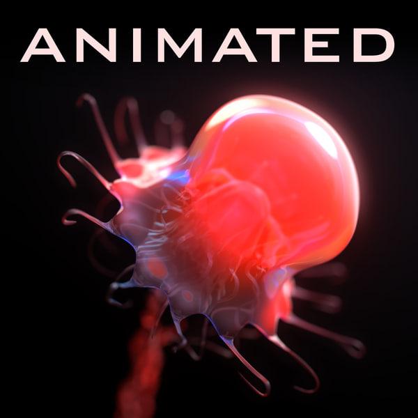 realistic jellyfish corona animation 3d model