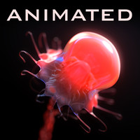 realistic jellyfish corona animation 3d model