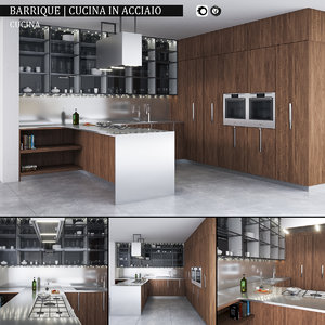 kitchen barrique cucina acciaio 3d max