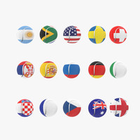 tennis balls flags 3d model