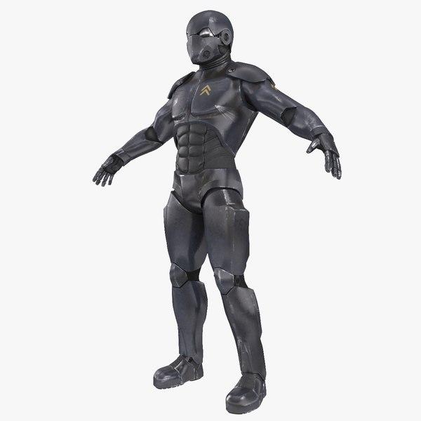 sci-fi soldier 3d model