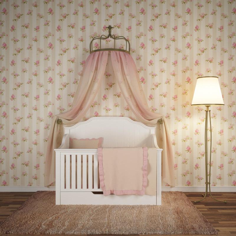 chic crib bedding 3d fbx