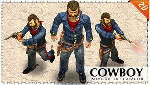 2D blue uniform cowboy with a revolver