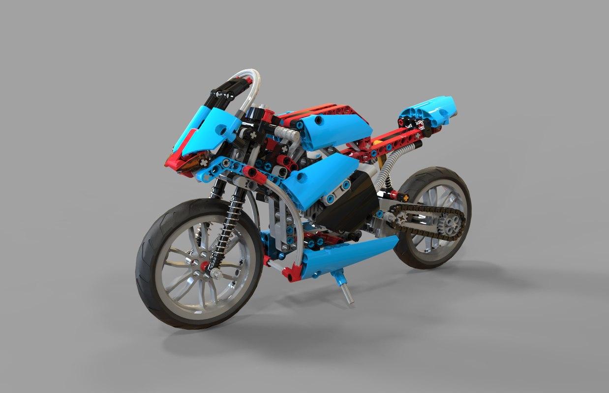 lego motorcycles 3d obj