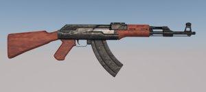 3ds automatic rifle ak ak-47