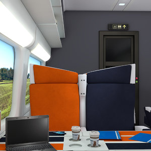 modern train interior passenger 3d c4d