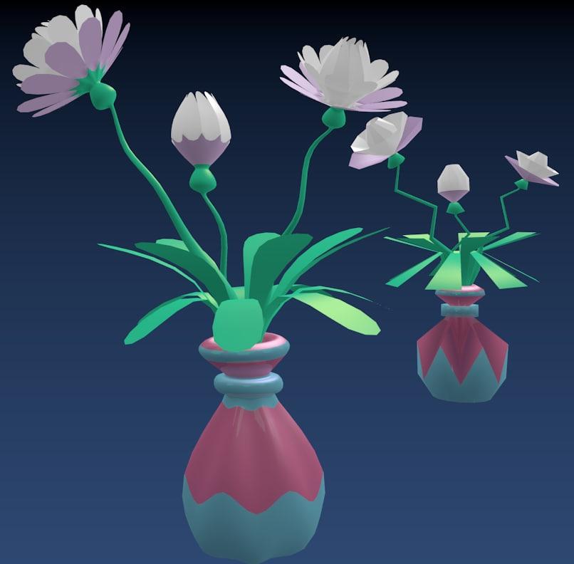 Cartoon Vase Flowers 3d Model