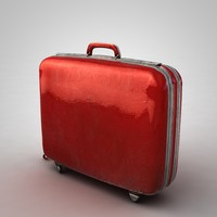3d red suitcase model