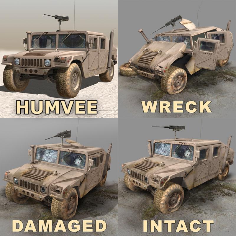wrecks damaged desert 3d model