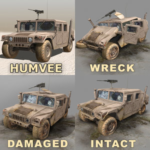 wrecks damaged desert 3d model