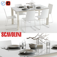 scavolini aire kuadra table chairs 3d model