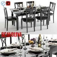 Scavolini Baccarat Black Table and Chairs