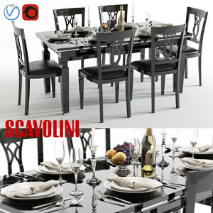 scavolini baccarat black table chairs 3d model
