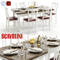 scavolini baccarat white table chairs 3d max