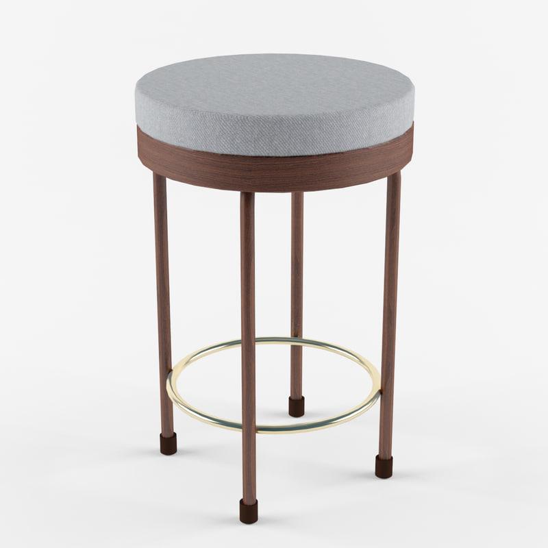 3ds wooden bar stool