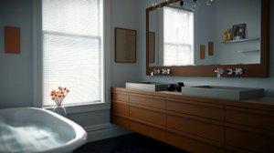 3d model bath bathroom modern