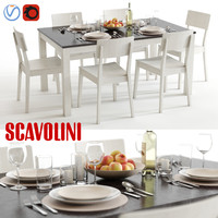3d model scavolini duke mika table chairs