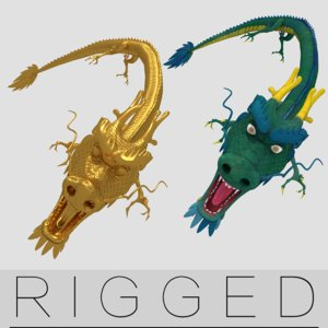 gold rigging dragon col 3d model