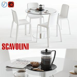 3d model scavolini loop snow dining set