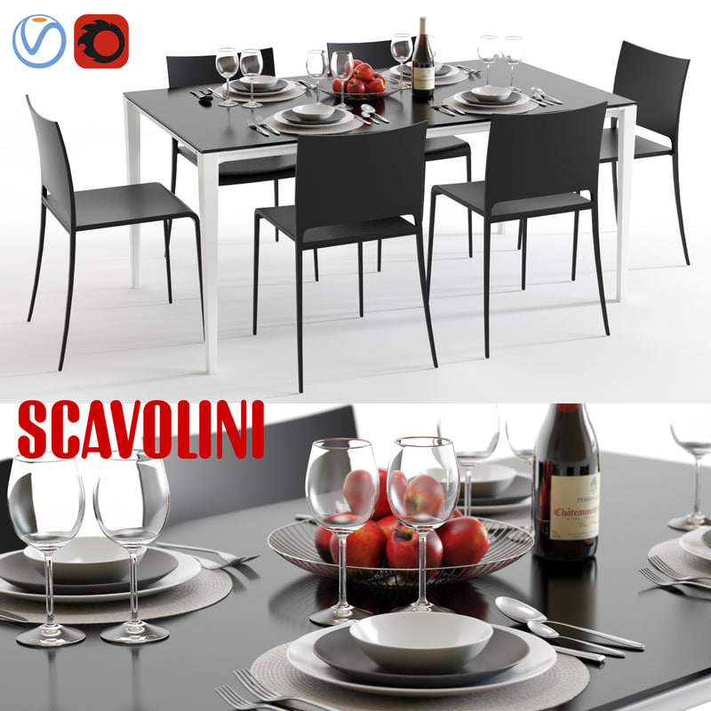 3d Model Of Scavolini Timeless Mya Dining Set