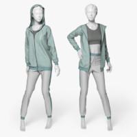 3d women sport suit