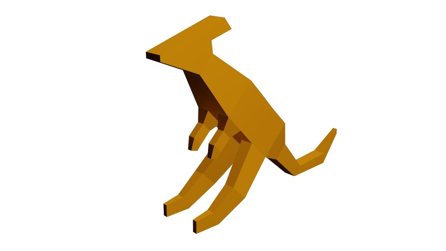 kangaroo low-poly 3d max