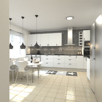 3d modern kitchen scene model