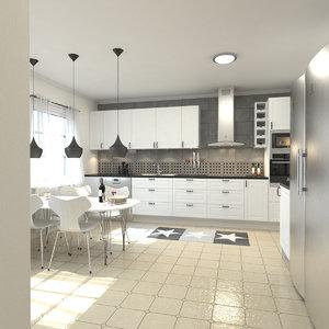 3d modern kitchen scene model