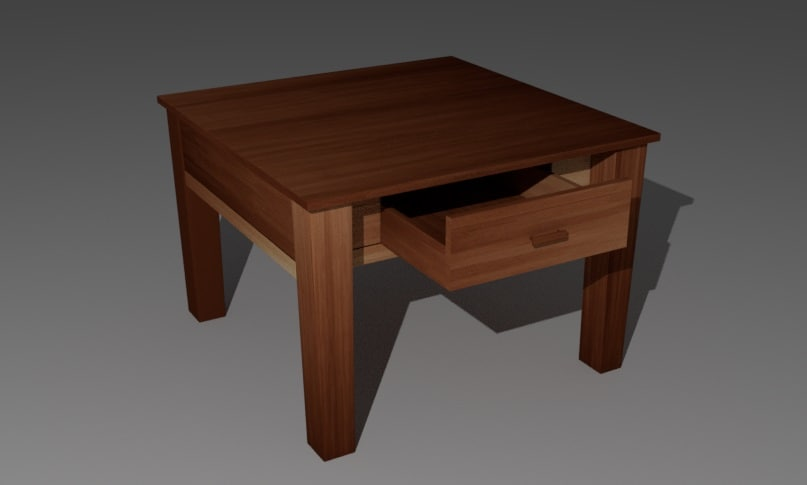 small wooden table 3d model