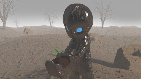 3d obj small robot
