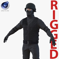 SWAT Man Mediterranean Rigged 2 for Cinema 4D 3D Model