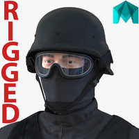 SWAT Man Mediterranean Rigged 2 for Maya