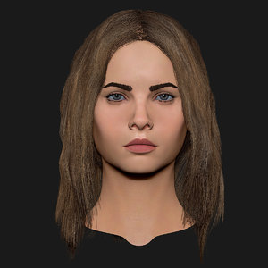 realistic head cute blonde 3d obj