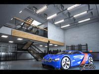 renault alpine concept garage 3d model