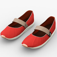 woman red shoes 3d model