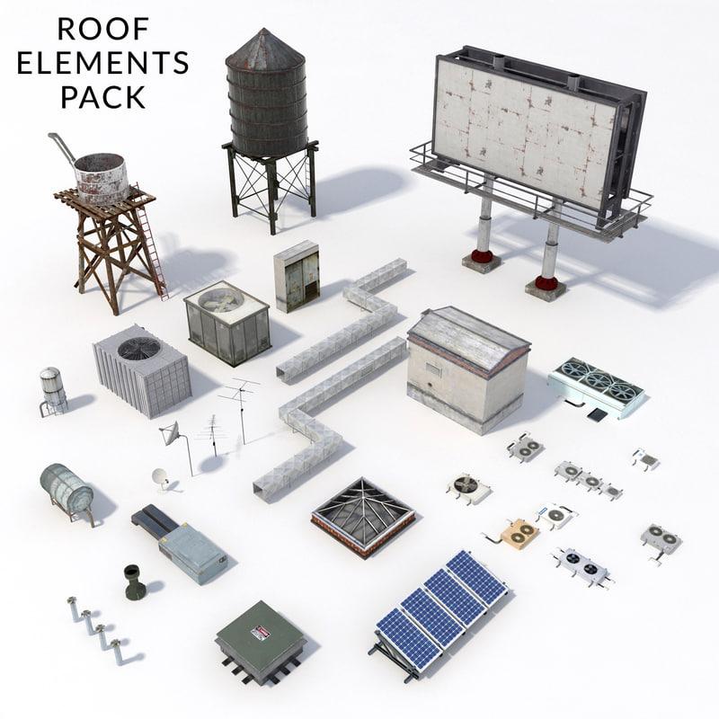 3d pack roof elements model