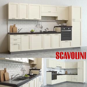 3d scavolini colony kitchen 2 model