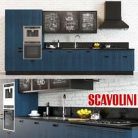 3d scavolini diesel kitchen blue model