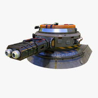 low-poly heavy plasma turret 3d model